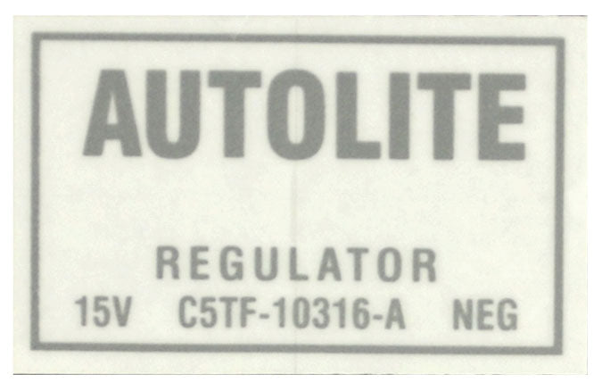 1965-66 PICKUP VOLTAGE REGULATOR DECAL W/AIR