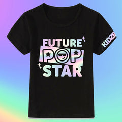 Future Pop Star Black Youth Tee with Iridescent Foil