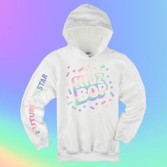 Future Pop Star White Hoodie with Iridescent Foil