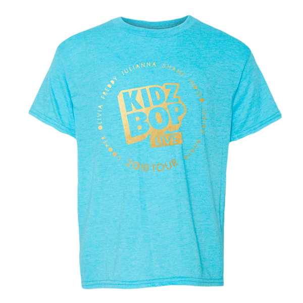 KIDZ BOP LIVE 2018 Turquoise Gold Foil Youth Tee
