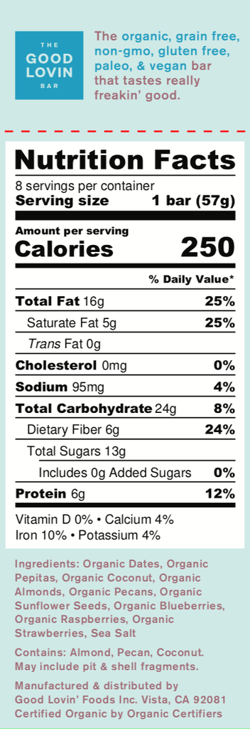 Organic, Berry Flavor Paleo Snack Bar Nutrition Facts