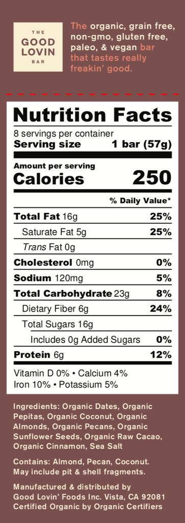Organic, Chocolate Flavor Paleo Snack Bar Nutrition Facts