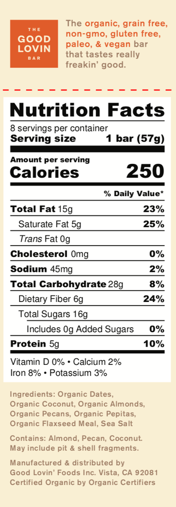 Organic, Coconut Flavor Paleo Snack Bar Nutrition Facts