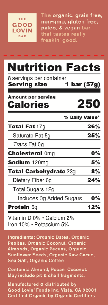 Organic, Mocha Flavor Paleo Snack Bar Nutrition Facts