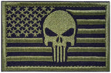 "American Flag Punisher Skull Tactical Patch w/ Velcro (2"" x 3"")"