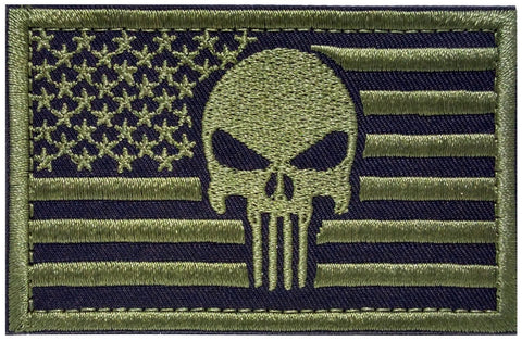 American Flag Punisher Skull Tactical Patch W Velcro 2
