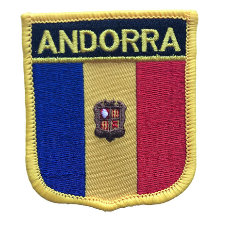 "Andorra Flag Shield Sew / Iron-On Patch (2.75"" x 2.35"")"