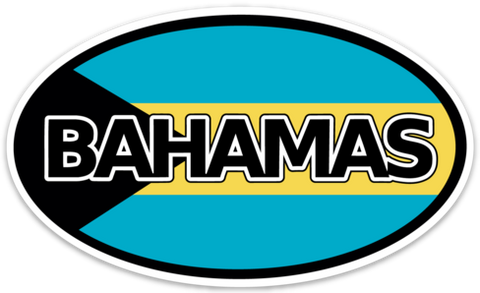 "Bahamas Flag Vinyl Decal Euro Oval Sticker (3"" x 5"")"