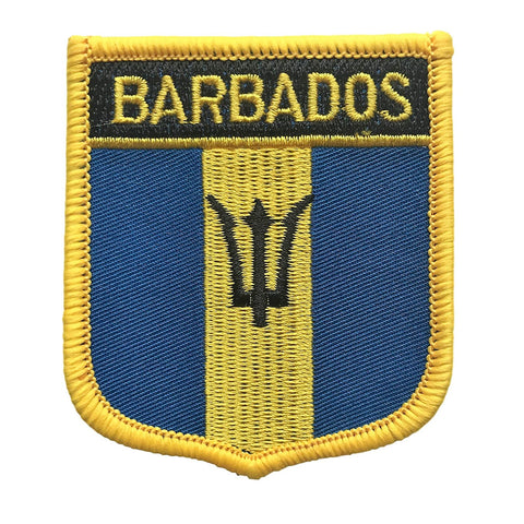 "Barbados Flag Shield Sew / Iron-On Patch (2.75"" x 2.35"")"