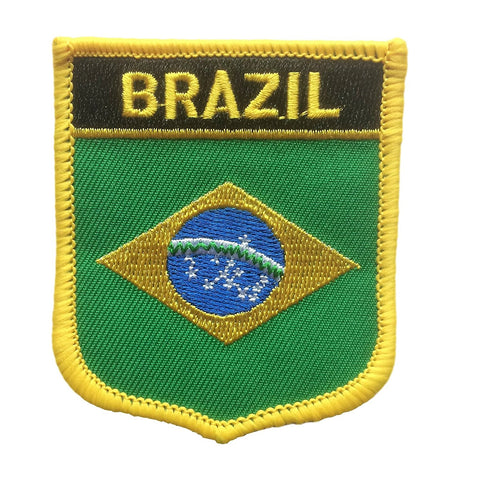"Brazil Flag Shield Sew / Iron-On Patch (2.75"" x 2.35"")"