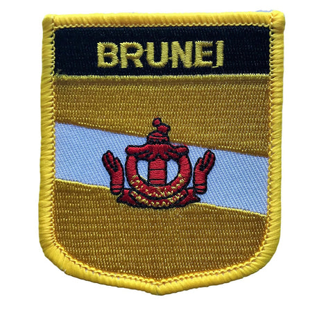 "Brunei Flag Shield Sew / Iron-On Patch (2.75"" x 2.35"")"