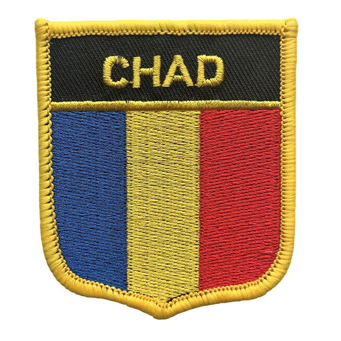 "Chad Flag Shield Sew / Iron-On Patch (2.75"" x 2.35"")"