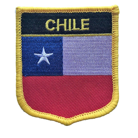 "Chile Flag Shield Sew / Iron-On Patch (2.75"" x 2.35"")"