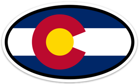 "Colorado Flag Vinyl Decal Euro Oval Sticker (3"" x 5"")"