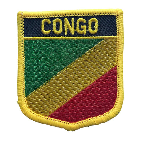"Congo Flag Shield Sew / Iron-On Patch (2.75"" x 2.35"")"