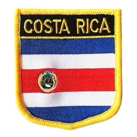 "Costa Rica Flag Shield Sew / Iron-On Patch (2.75"" x 2.35"")"
