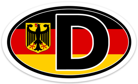 "D for Deutschland (Germany) Vinyl Decal Euro Oval Sticker (3"" x 5"")"