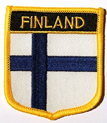 "Finland Flag Shield Sew / Iron-On Patch (2.75"" x 2.35"")"