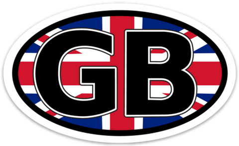 "GB for Great Britain Oval Vinyl Decal Sticker (3"" x 5"")"