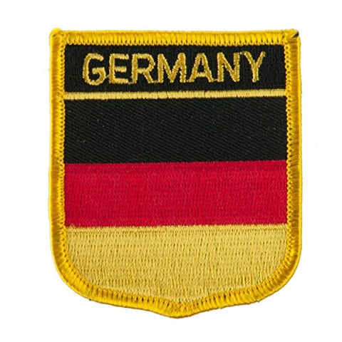 "Germany Flag Shield Sew / Iron-On Patch (2.75"" x 2.35"")"