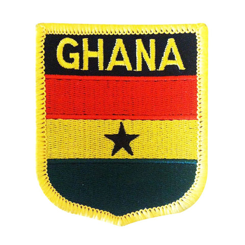 "Ghana Flag Shield Sew / Iron-On Patch (2.75"" x 2.35"")"