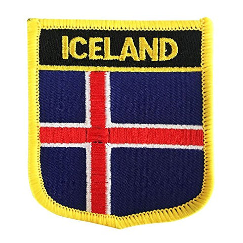 "Iceland Flag Shield Sew / Iron-On Patch (2.75"" x 2.35"")"