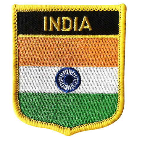 "India Flag Shield Sew / Iron-On Patch (2.75"" x 2.35"")"