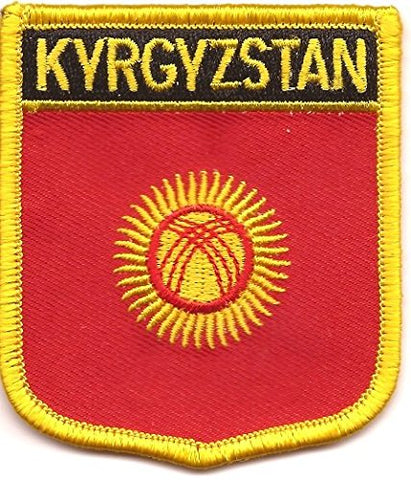 "Kyrgyzstan Flag Shield Sew / Iron-On Patch (2.75"" x 2.35"")"