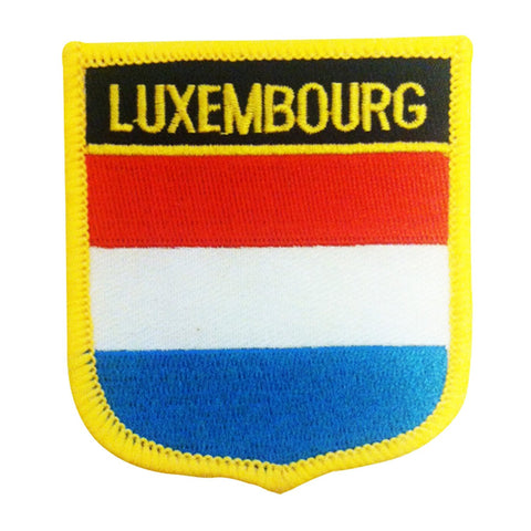"Luxembourg Flag Shield Sew / Iron-On Patch (2.75"" x 2.35"")"