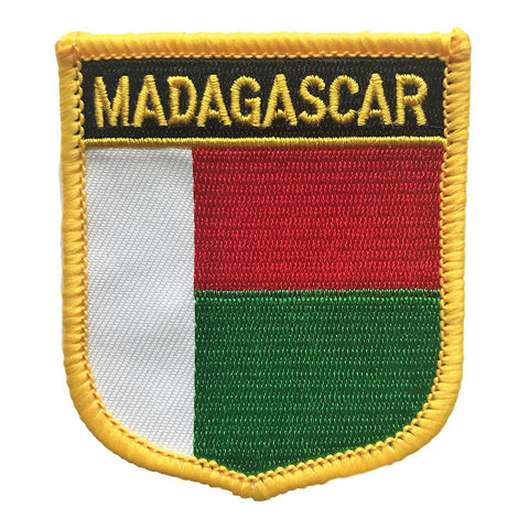 "Madagascar Flag Shield Sew / Iron-On Patch (2.75"" x 2.35"")"