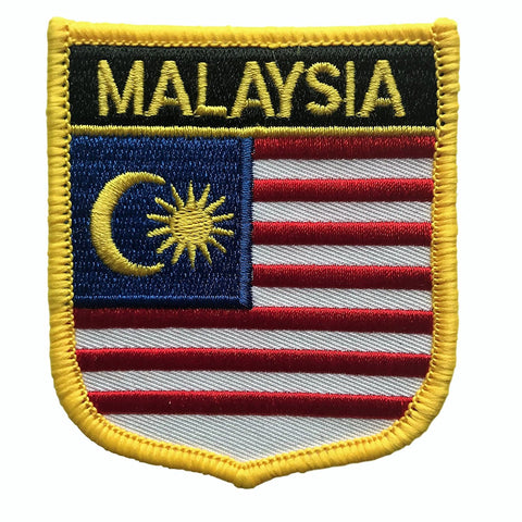 "Malaysia Flag Shield Sew / Iron-On Patch (2.75"" x 2.35"")"