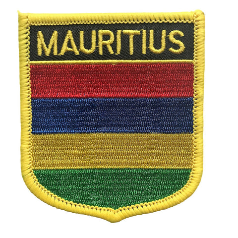 "Mauritius Flag Shield Sew / Iron-On Patch (2.75"" x 2.35"")"