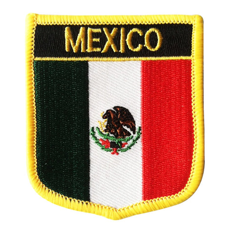 "Mexico Flag Shield Sew / Iron-On Patch (2.75"" x 2.35"")"