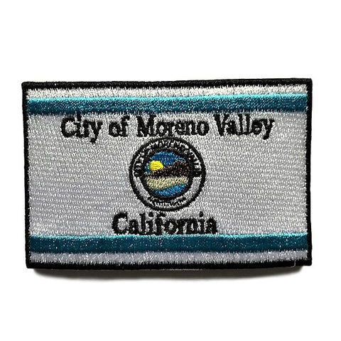 "City of Moreno Valley, California Flag Sew / Iron-On Patch (2"" x 3"")"