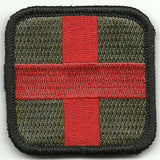 "Medic First Aid Cross Morale Patch w/ Velcro (2"" x 2"")"