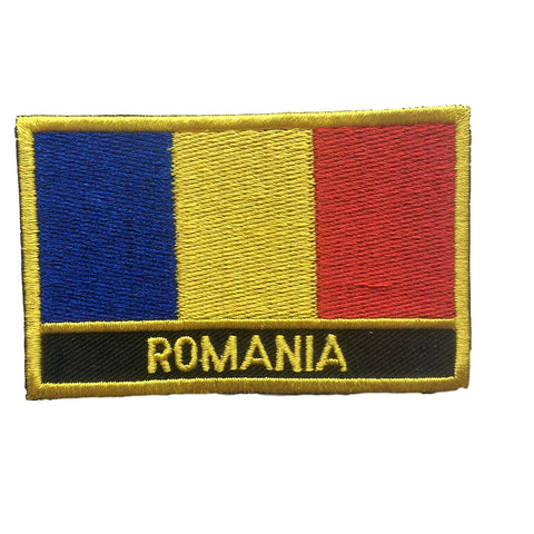 "Romania Flag Sew / Iron-On Patch (2"" x 3"")"