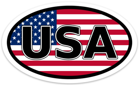 United States (USA) Vinyl Decal Euro Oval Sticker