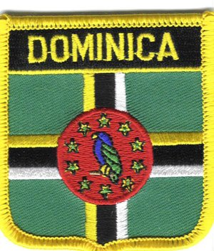 "Dominica (Marigot) Flag Shield Sew / Iron-On Patch (2.75"" x 2.35"")"