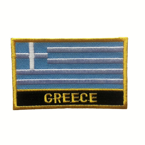 "Greece Flag Sew / Iron-On Patch (2"" x 3"")"