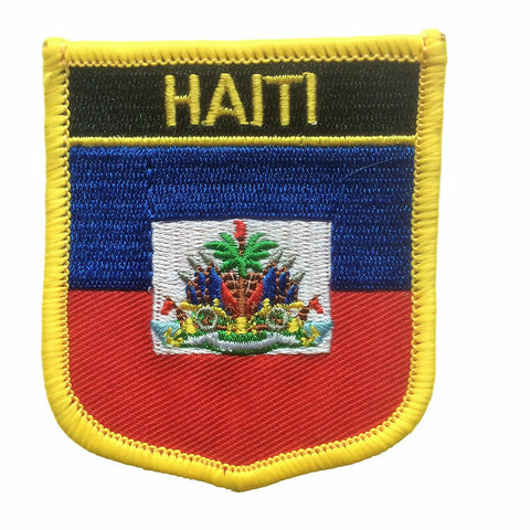 "Haiti Flag Shield Sew / Iron-On Patch (2.75"" x 2.35"")"
