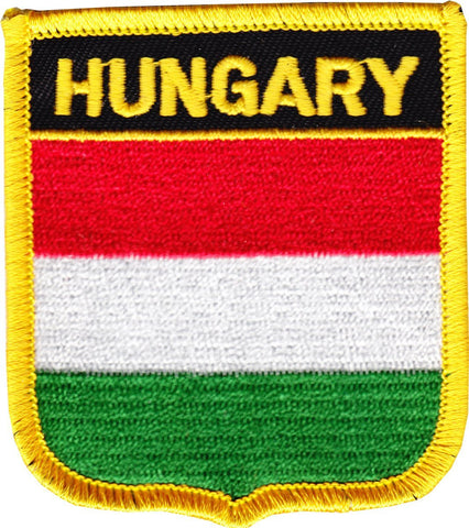 "Hungary Flag Shield Sew / Iron-On Patch (2.75"" x 2.35"")"