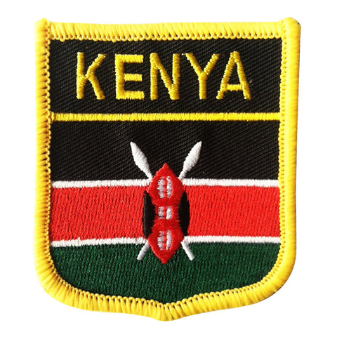 "Kenya Flag Shield Sew / Iron-On Patch (2.75"" x 2.35"")"