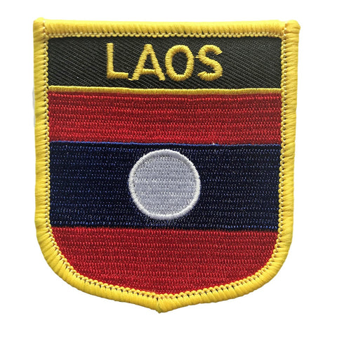 "Laos Flag Shield Sew / Iron-On Patch (2.75"" x 2.35"")"