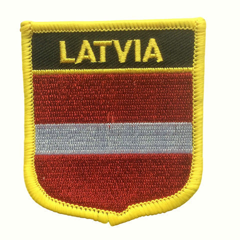 "Latvia Flag Shield Sew / Iron-On Patch (2.75"" x 2.35"")"