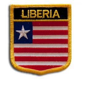 "Liberia Flag Shield Sew / Iron-On Patch (2.75"" x 2.35"")"