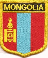 "Mongolia Flag Shield Sew / Iron-On Patch (2.75"" x 2.35"")"
