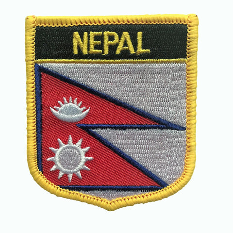 "Nepal Flag Shield Sew / Iron-On Patch (2.75"" x 2.35"")"