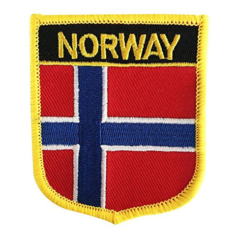 "Norway Flag Shield Sew / Iron-On Patch (2.75"" x 2.35"")"