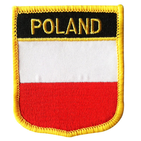 "Poland Flag Shield Sew / Iron-On Patch (2.75"" x 2.35"")"