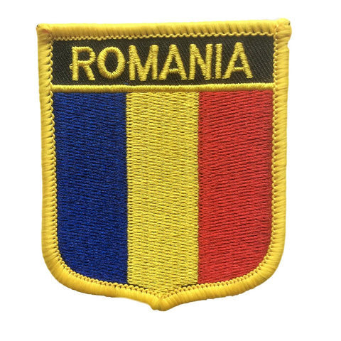 "Romania Flag Shield Sew / Iron-On Patch (2.75"" x 2.35"")"